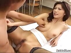 Alluring Japanese babe Natsuki Ryuu gets fucked by several studs