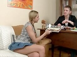 Blonde teen big tits first anal inside the sofa