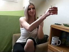 Amateur French Cam Girl fucks Dogtail