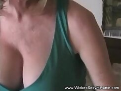cute buxom mommy gives handjob for big cock