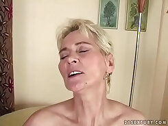 Charming young black haired gal likes to tease wet tight vagina of old grandma