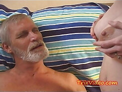 Blow Daddy with big Breasts Sucking and Throbbing