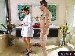 Busty masseuse Lexie Olin massage on table