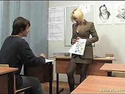 Big titted mature teacher gets good teaching