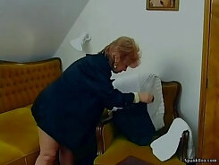 Blonde Granny Plays With Her Banana