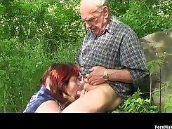 Beefy grandpa fucks hot jock outdoors