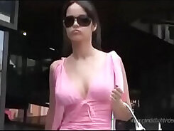 Crossdresser DelaMax Plays with ther boobs upskirt