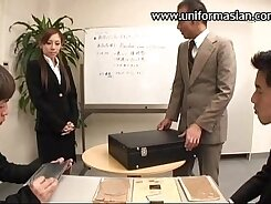 Alluring Asian sweetie got banged in mish style in the office
