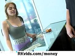 Blonde girl flashing before video camera for money