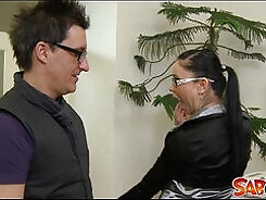 Boss with moody gill ellis enjoys a rough anal pounding