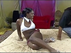 Cute Ebony Sucks And Rides Dick Showing Her Hairy Pussy