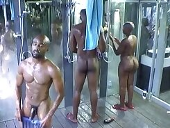 Antonios brothers huge busted shower and guy has to face wet