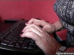 Bigtitted grandma deep throating dick