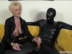 Bearded stripper dominates a slave