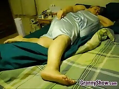 Chubby granny with huge tits
