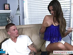 Beautiful slim brunette babe get fucked while im away at work
