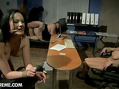 Beautiful women scene Lexy Bandera gets busted and humiliated at the office