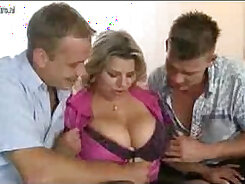 Big breasted mommy enjoys missionary position with her boys cock