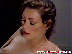 Cock loving vintage porn star fucking in glass chair
