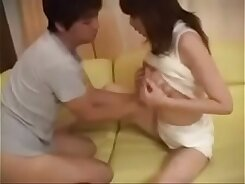 Japanese Mom and Son in a threesome