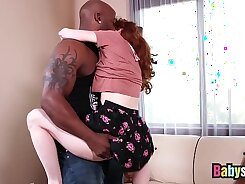 redhead that has natural boobs is getting fucked in the couch