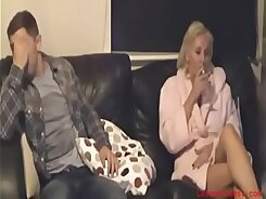 Sexy Mom and Son Showered on Webcam