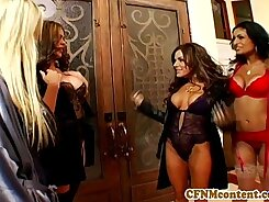 Cute CFNM group fast grossed because of tights lingerie