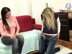 Hot lesbian teens finger lick toes in van